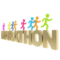Human running symbolic figures over the word Marathon