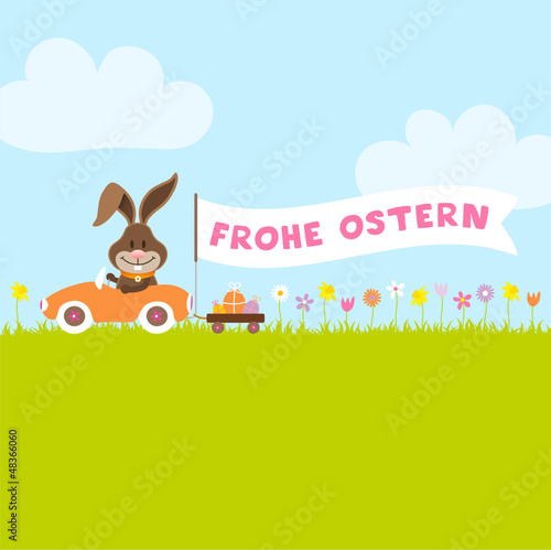 "Bunny Meadow Car Easter Eggs Banner ""Frohe Ostern"""