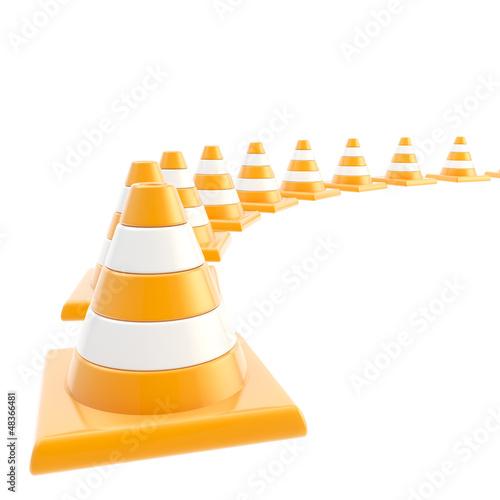 Roadworks orange cone composition as background