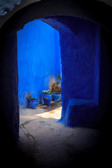 House entrance, part of the blue city, Chefchaouen, Morocco