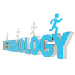 Human running figures over the word Technology