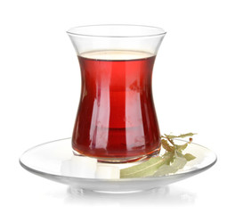glass of Turkish tea isolated on white