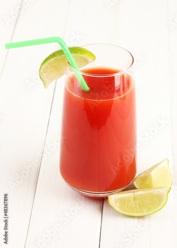 Bloody Mary cocktail on white background