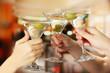 Corporate party martini glasses