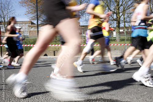 Marathon runners, motion blurred
