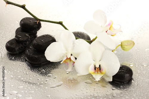 Spa stones and orchid flowers, isolated on white. © Africa Studio