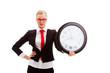blonde businesswoman holding clock