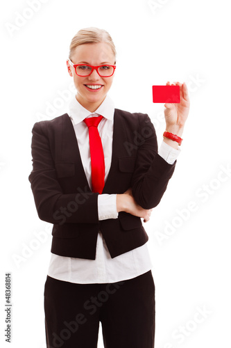 woman holding blank businesscard