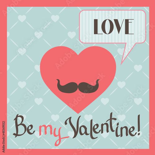 Vintage Valentines Day greeting card with heart and mustache.