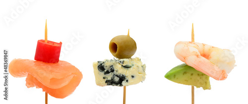 Bitesize party snacks on cocktail sticks