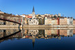 horizontal view of Lyon and Saone River