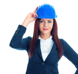 Friendly business woman wear a helmet at protection