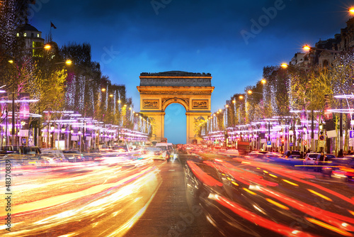 Arc de triomphe Paris city at sunset - Arch of Triumph - 48370839