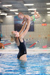 Mother and son in swimming pool, motion blurred image