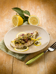 chicken with capers onions and lemon peel