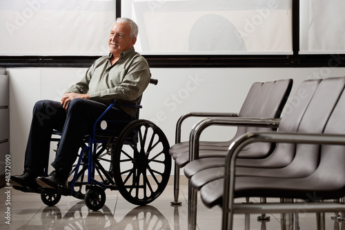 Disabled Senior Man Looking Away