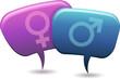 Personnages bulle en conversation masculin féminin