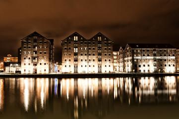 Warehouses around Gloucester Docks at Night