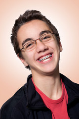 Boy with braces and glasses