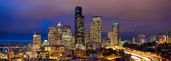 Seattle skyline panorama at dusk, WA, USA