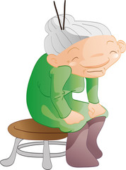 Sweet granny sitting on a chair
