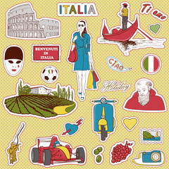 Italy travel icons