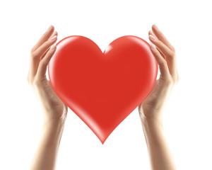 Frauenhände halten rotes Herz