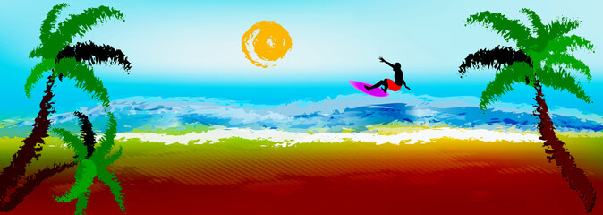 Happy  rest on exotic tropical island.Surfing