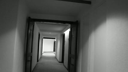 Walking down a hotel corridor