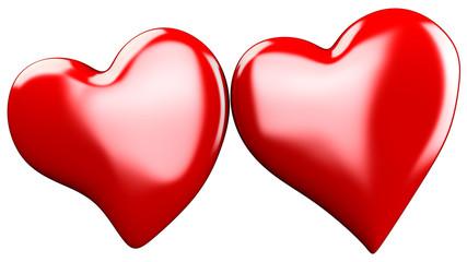 doppio cuore rosso 3d