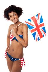 Stars and stripes bikini model holding UK flag