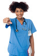 Smiling lady doctor pointing you out