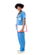 Medical expert posing sideways, holding clipboard