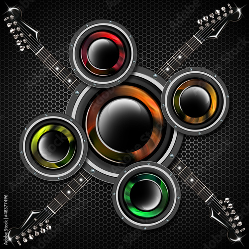 Woofer and Guitar Hexagons Background