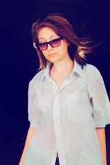 sad girl with glasses