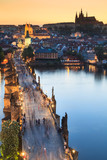 Fototapety View of Vltava river with Charles bridge in Prague, Czech republ