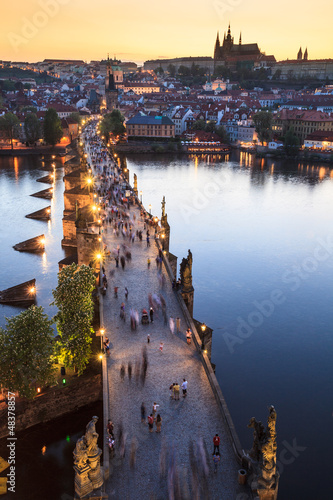 Poster Praag View of Vltava river with Charles bridge in Prague
