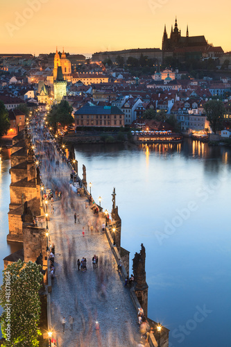 Fototapeta View of Vltava river with Charles bridge in Prague, Czech republ