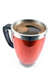 Red thermos cup with coffee drink