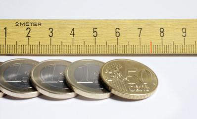 Thema Mindestloehne mit Zollstock + Euro-Muenzen