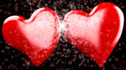 doppio cuore rosso 3d sfondo nero