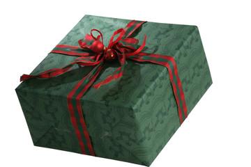 Ein in weihnachtliches Geschenkpapier verpacktes Geschenk