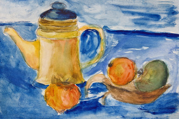 Still life with kettle and apples aquarelle