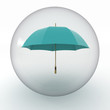lady umbrella in transparent sphere  on white