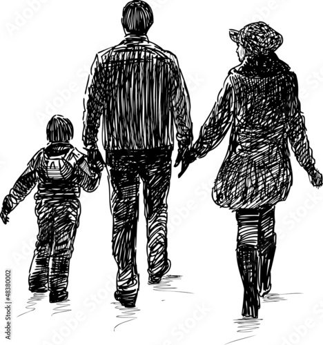 young family on a walk
