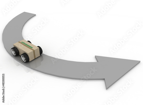 cardboard box with car wheels. Concept of logistics