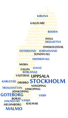 SWEDEN map made from cities with the country name
