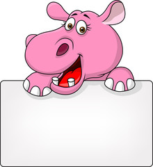 Hippo cartoon with blank sign
