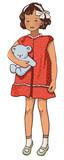 Retro kids, character illustration