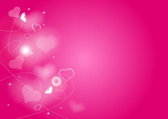 Fond rose coeurs et papillons - Saint Valentin